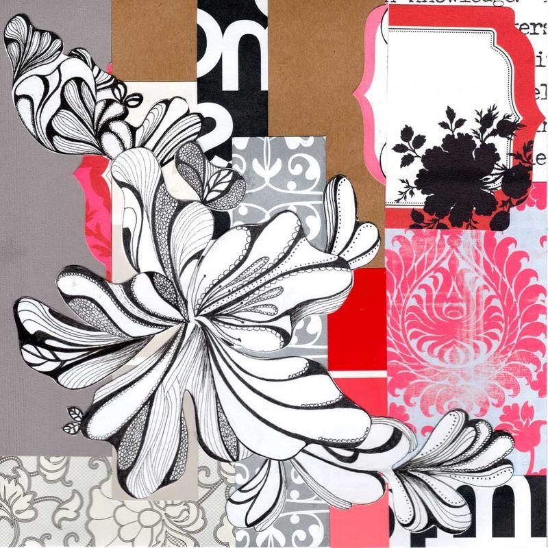 Pinkflowermixedmediacollage