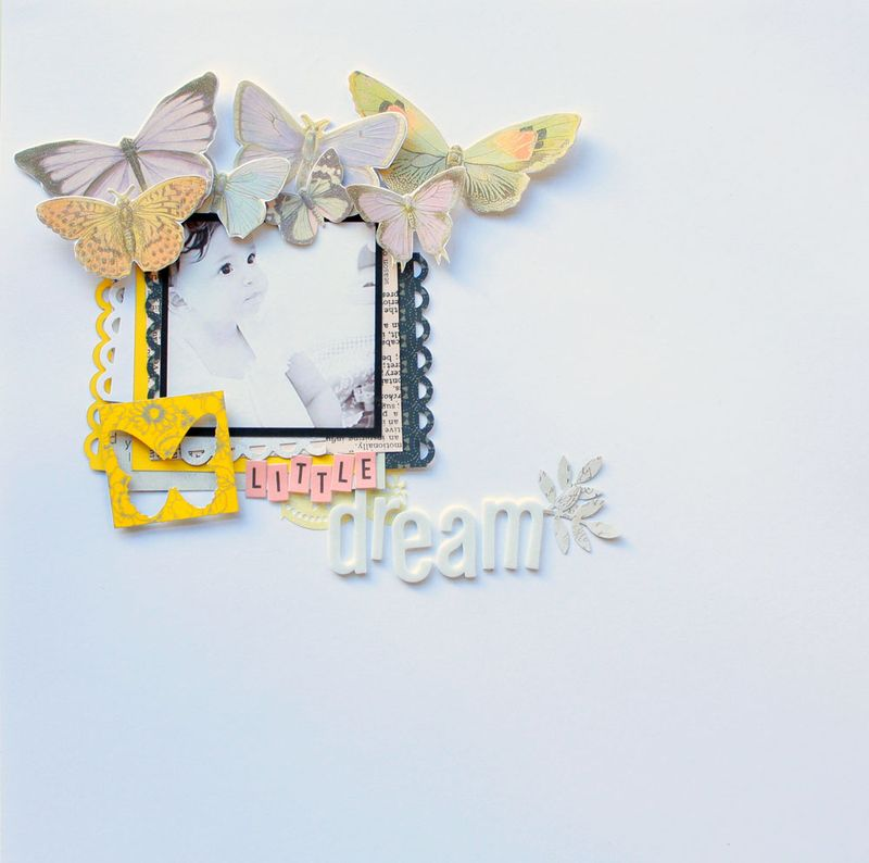 american crafts, thickers,butterflies,october afternoon, yellow, lavender, scrapbooking