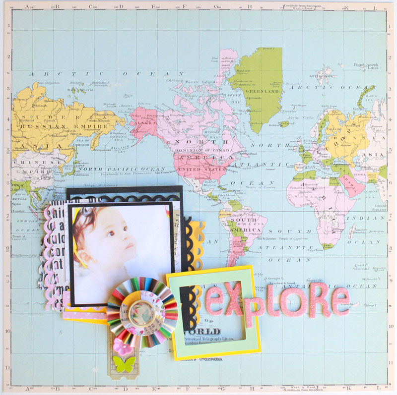 Explore-layout neroliskye,october afternoon,pink,scrapbooking,map paper