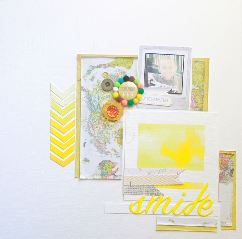 Smile-yellow-layout, yellow, crate paper, map, scarlet bird designs, chevron