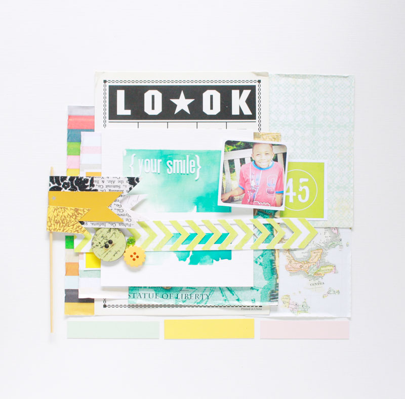 Look-layout, scrapbooking, watercolor, banner, crate paper, yellow