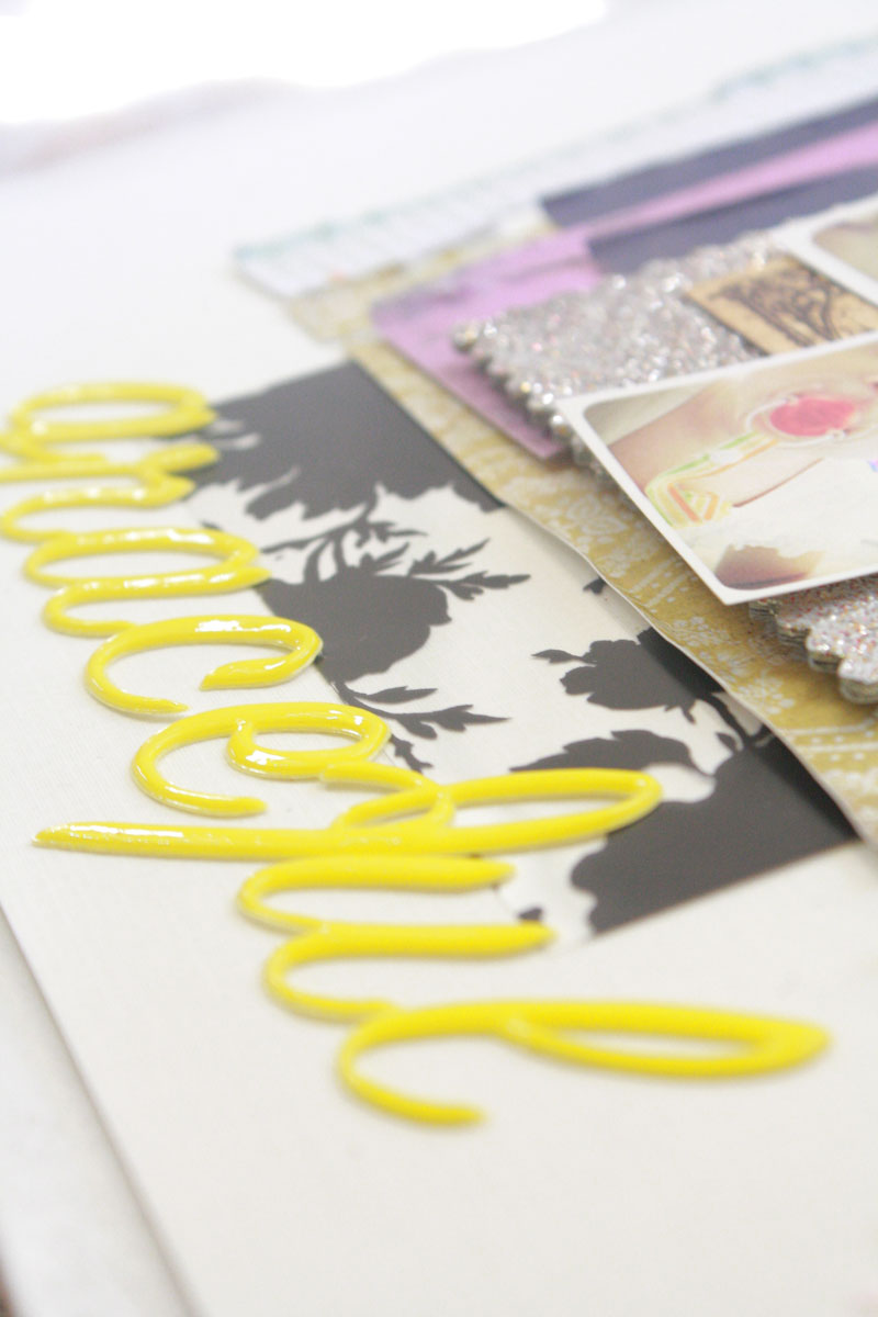 american crafts thickers, yellow, italic letters, basic grey plumeria, scrapbooking layout