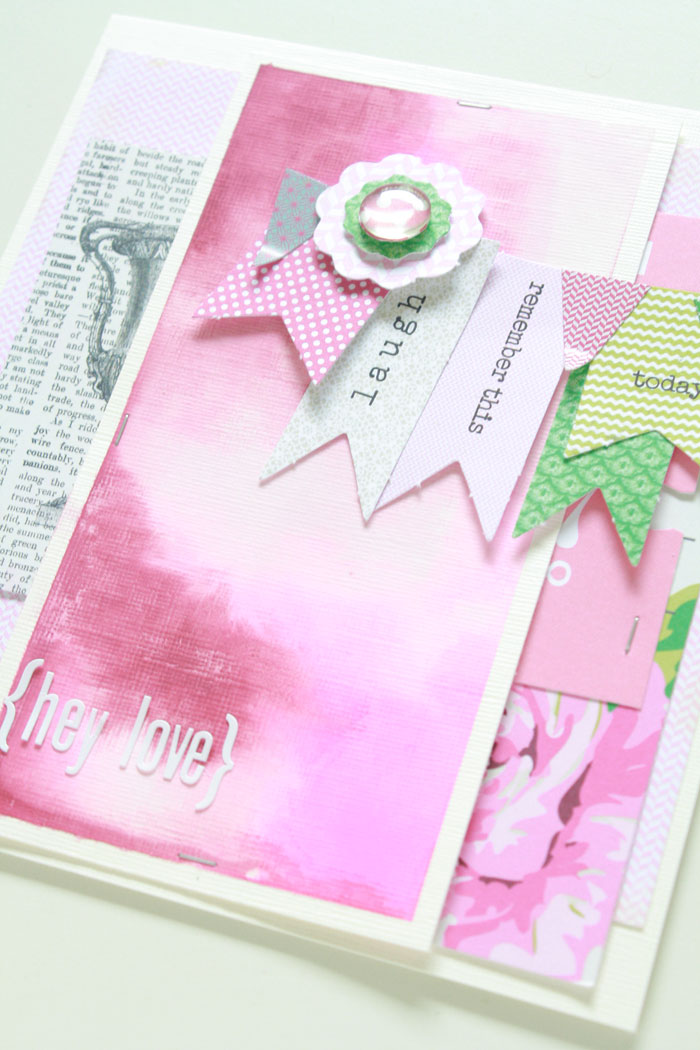 Hey-love-card2, lilibee design, pink, watercolor, banner, scrapbooking