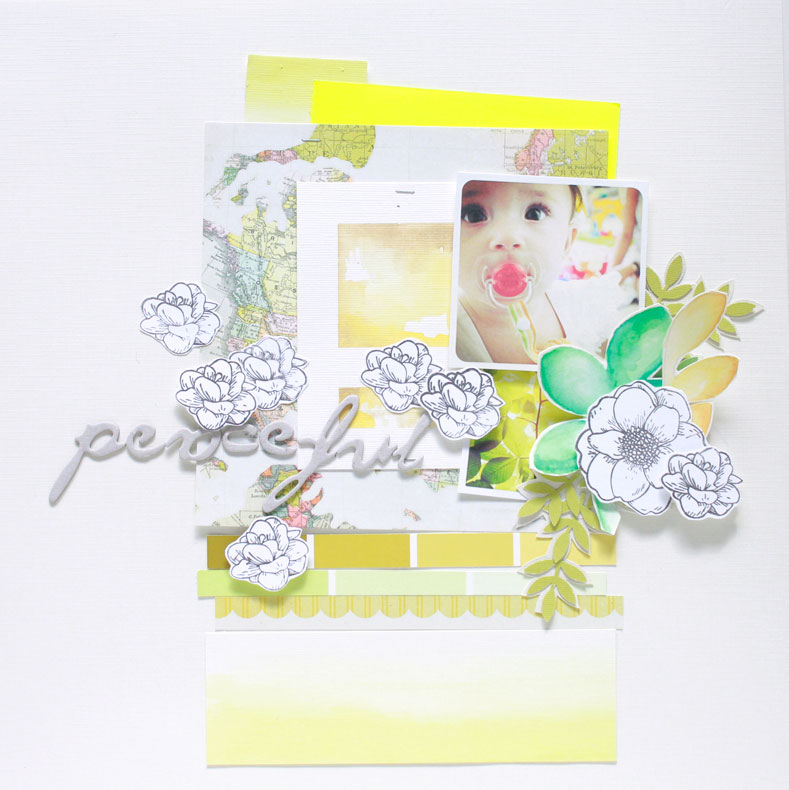 Peaceful-layout, crate paper, paint chips, flowers, yellow, green, map, watercolor