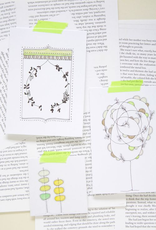 color crush emerald, light green, floral illustration, tree illustration, illustrated cards, neroliskye, green, fun illustrations