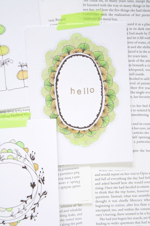 floral illustration, new illustration, green, light green, fun floral cards, hello card
