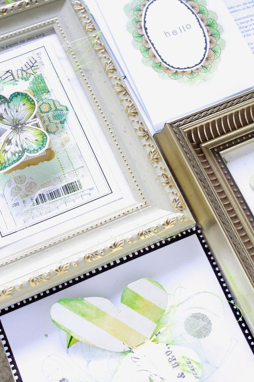 framed collage, floral illustration, green illustrated cards